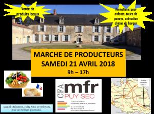 marché de producteurs au CFA MFR Puy-Sec 21 avril