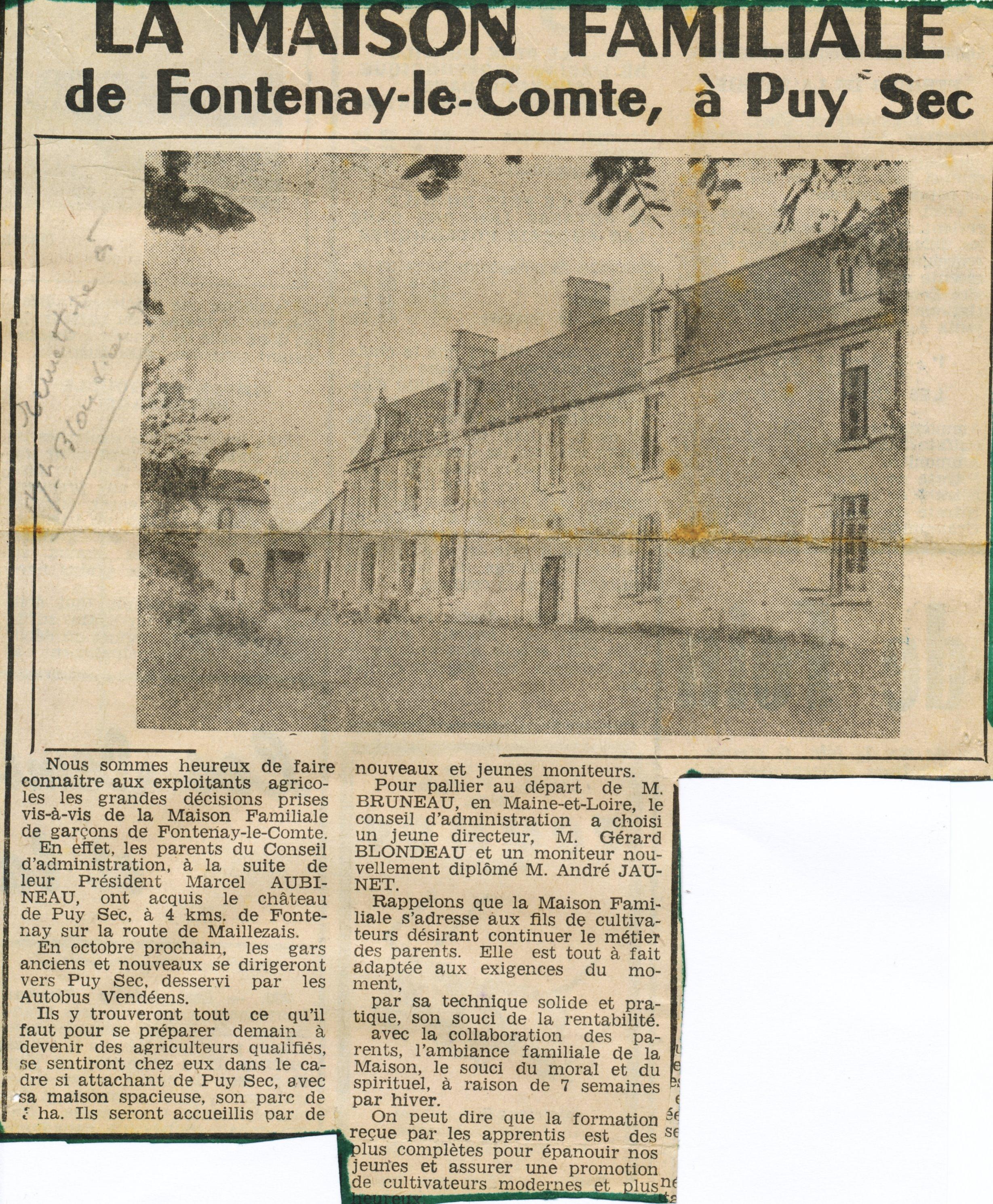 Archives anciens élèves mfr puysec 1954 article 1 rentrées