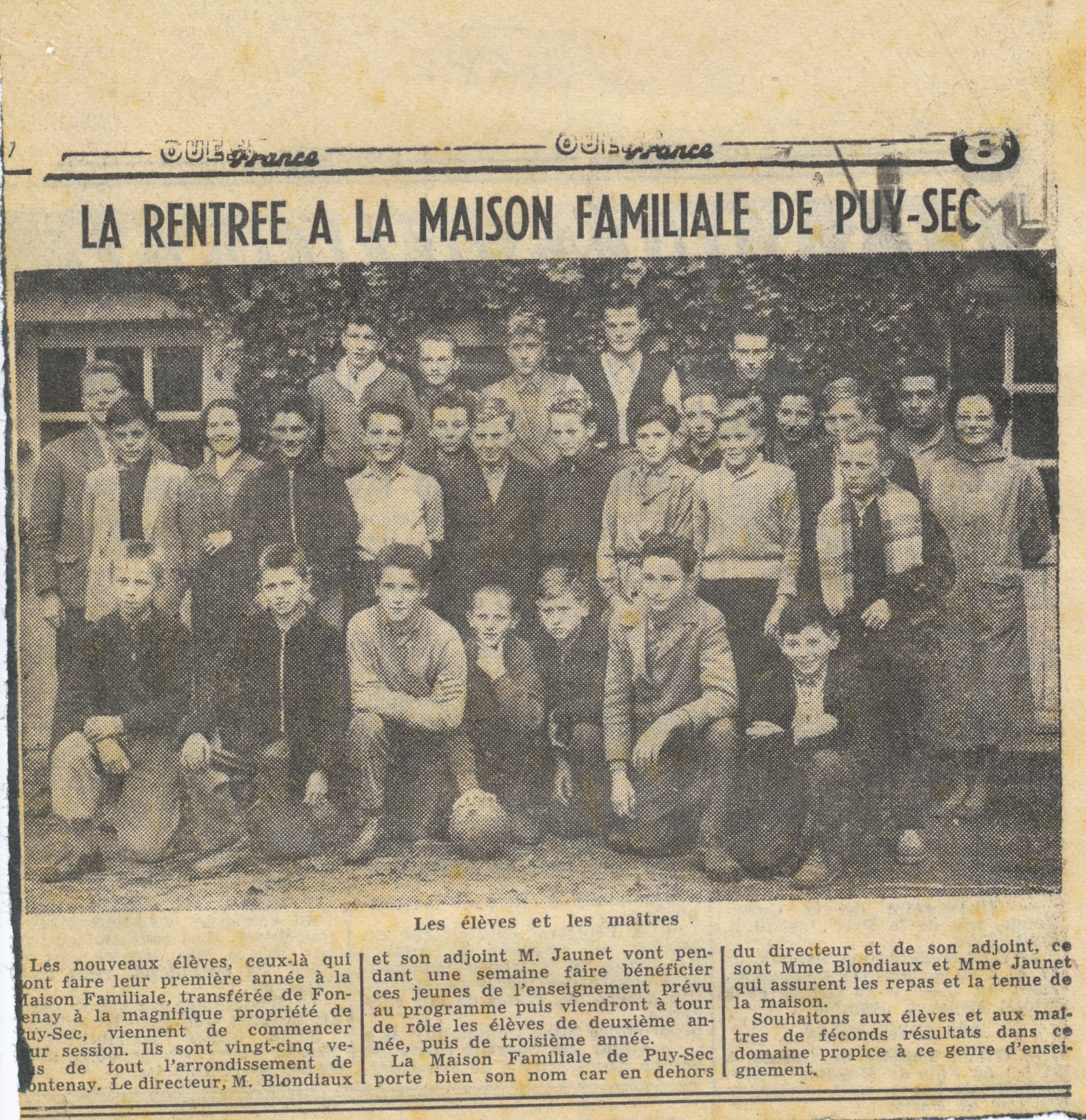 Archives anciens élèves mfr puy-sec 1954 article rentrées