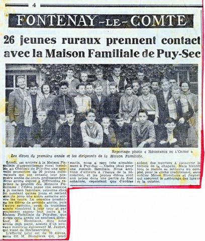 Archives anciens élèves mfr puy-sec 1960 Article 1 rentrées