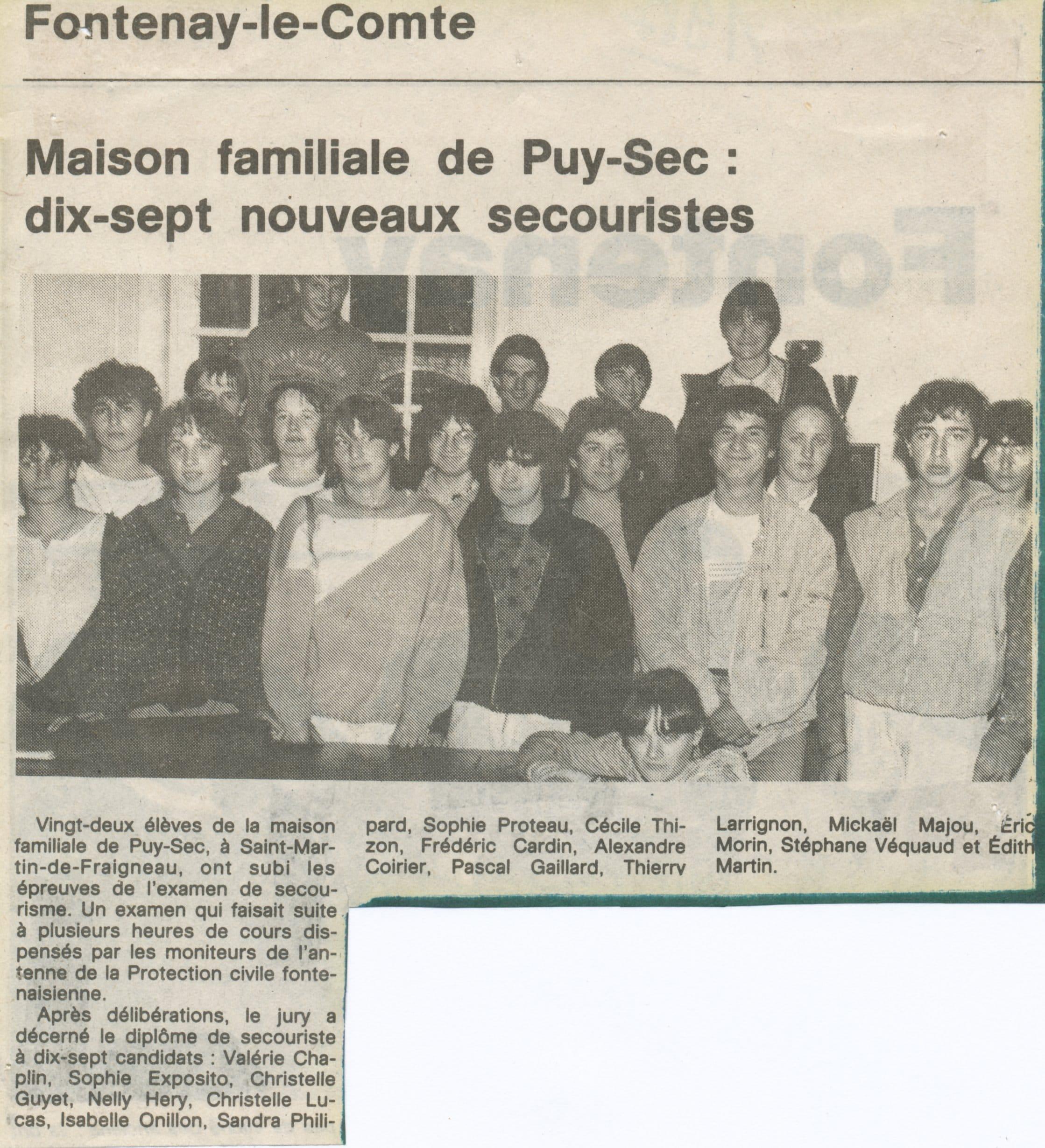 Archives anciens élèves mfr puy-sec 1984 Article 1
