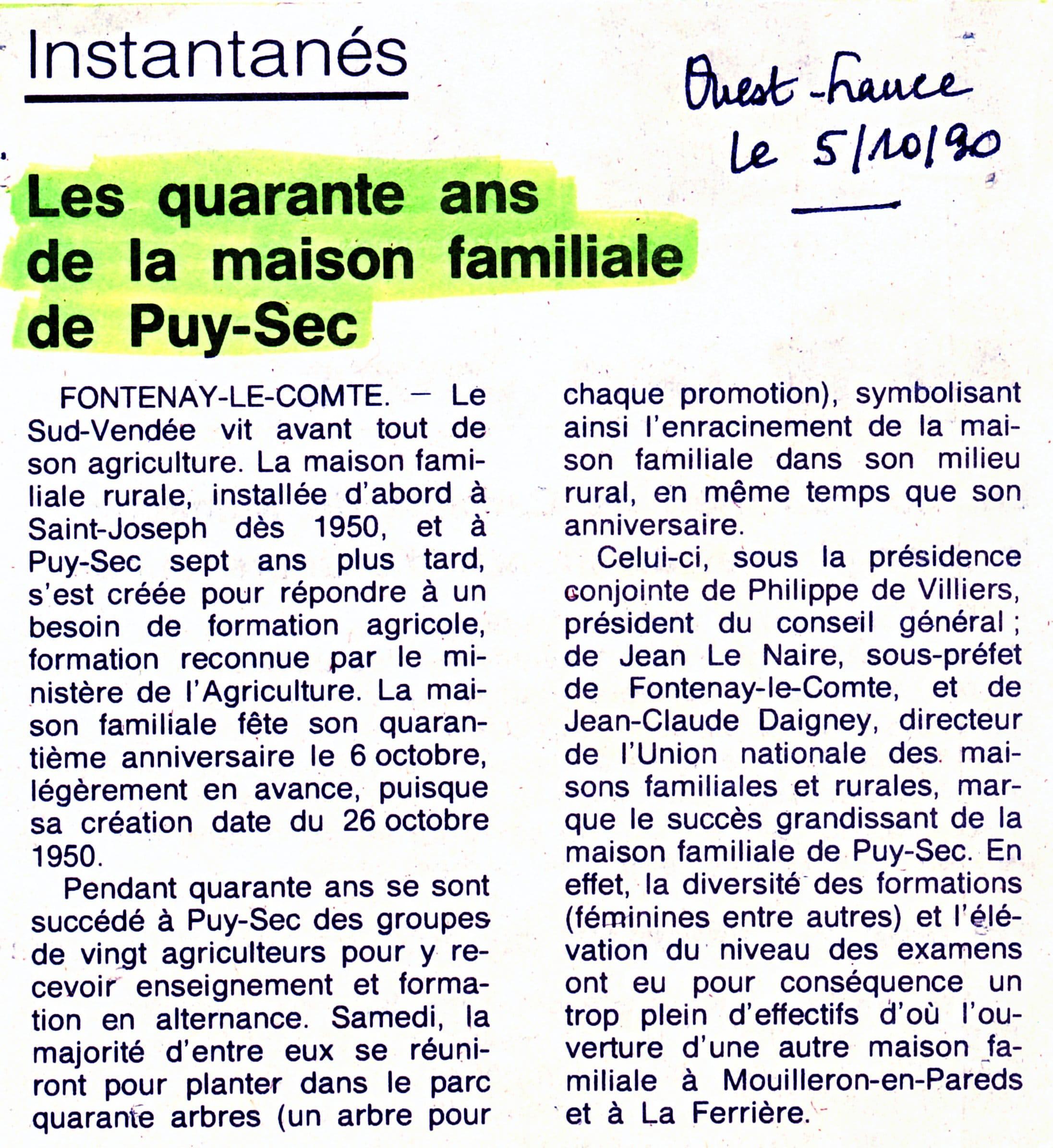 Archives anciens élèves mfr puy-sec 1990 Article 1
