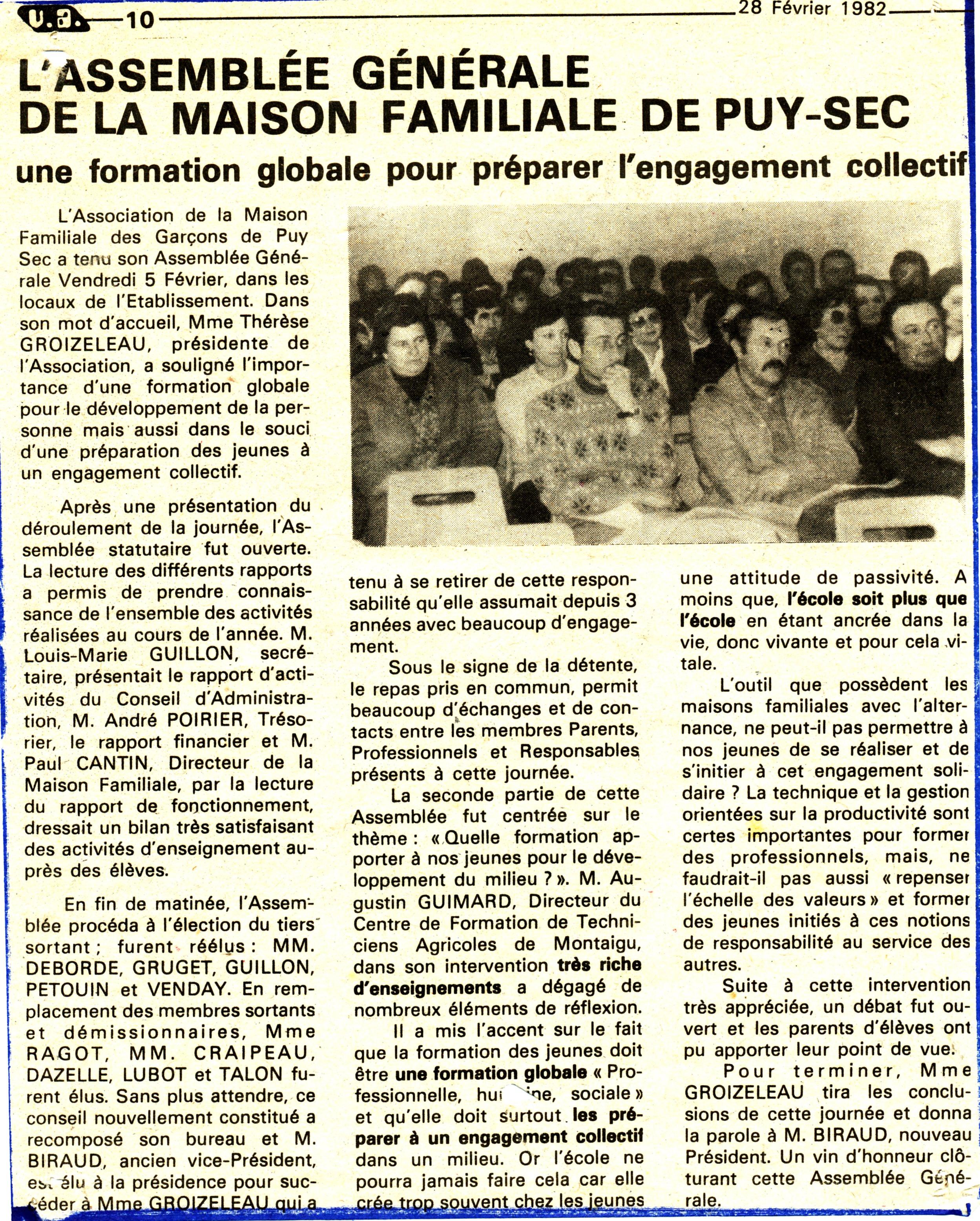 Assemblée Générale 1982
